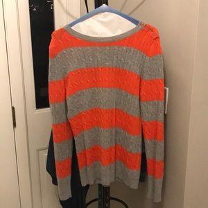 Orange and gray striped sweater